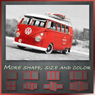 ' VW Retro Red Camper Van With Surfing Board ' Canvas Wall Art Deco