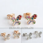 A1-E160 Fashion Butterfly Stud Earrings 18KGP use Swarovski Crystal