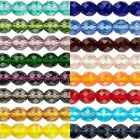 16 inch Strand Czech Fire Polish Round Glass Beads in Many Transparent Colors