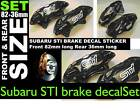 Brake decal stickers to fit Subaru STI design front & rear set sizes 82 & 36mm