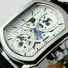 SH US Mens Wrist Watch Sport Automatic Mechanical Leather Skeleton Business HOT