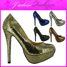 NEW LADIES HIGH HEEL STILETTO SEXY GLITTER PLATFORM COURT SANDALS SHOES UK 3-8
