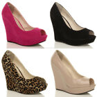 WOMENS LADIES HIGH HEEL WEDGE PEEPTOE PLATFORM PARTY COURT SHOES PUMPS SIZE