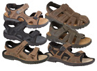 NEW MENS GENTS NUBUCK LEATHER CASUAL SPORTY VELCRO STRAP SANDAL SHOE SIZES 7-12