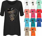 Womens Cat Animal Print Short Sleeve Plus Size Diamante Ladies Flared Top 14-28