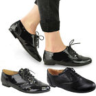 LADIES WOMENS BLACK FLAT BROGUE CREEPER SHOES VINTAGE CASUAL WORK SCHOOL SZ 3-8