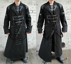Mens Trench Coat Punk Gothic Cross Buckle Straps Studs Steampunk Jacket New
