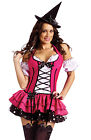 Sexy Womens Pink Witch Halloween Fancy Dress Costume
