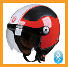 TORC T58B 3/4 Open Face Bluetooth Motorcycle Helmet Euro Style DOT - Red Stripe