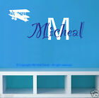 DIY PERSONALISE name & airplane Removable Wall Decal in 2 colours way