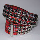 Funk Plus Gothic Goth Punk 70s 80s Pyramid Metal Studded Red Tartan Plaid Belt