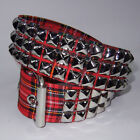 Funk Plus Goth Punk 70s 80s Pyramid Metal STUDDED Vegan Red Tartan Plaid Belt
