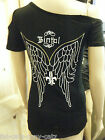 LADIES UNIQUE BIKER GOTH BLACK ONE SLEEVED TOP ANGEL WINGS GOLD DETAILING UKSELL