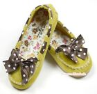 Yellow Brown White Dot Lacing & Bow Casual Style Deck Shoes for Kids Girl SE004