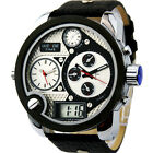 SH US Mens Quartz Wrist Watch Oversized Face Leather Digital Pointer Sport NEW