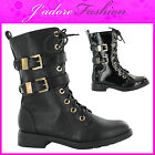 NEW LADIES LACE UP LOW HEEL RIDING BIKER BUCKLE MID CALF BOOTS SIZES UK 3-8