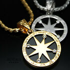 Zodiac Pentagram Stella Pendant Necklaces 18k Gold & Silver Plated Mens Jewelry