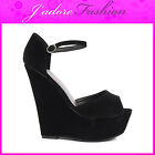 NEW LADIES  HIGH HEEL PEEP TOE ANKLE STRAPPY WEDGE PLATFORM SANDALS SIZES UK 3-8
