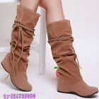 New Style Girls Gifts Women's Lace Mid-Calf Boots Low Heel Shoes AU All Sz Y612