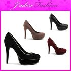 NEW LADIES HIGH HEEL STILETTO ROUND TOE FAUX SUEDE COURT SHOES UK 3-8