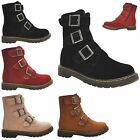 NEW WOMENS ALL COLOURS BELTS ZIP CUBAN HEELS ANKLE LADIES COMBAT BOOTS SIZE 3-8