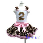 Light Pink Brown Giraffe Pettiskirt Plus 2nd Birthday White Tank Top Outfit 1-7Y