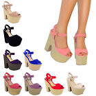 LADIES WOMENS PLATFORM HIGH HEELS PEEPTOE BLACK SUMMER SANDALS WEDGES SHOES SIZE