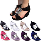LADIES WOMENS BLACK BEACH SUMMER STRAPPY SANDALS LOW MID HIGH HEELS WEDGES SIZE
