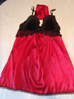 AMBRIELLE S M L Choice Underwire Red Black Bra Chemise Thong Set NWT Sexy