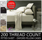 Luxury 100% Egyptian Cotton 200 Thread Count Fitted Sheet Pillow Case Free Post