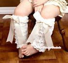 Baby Girl Beige Ivory Cream White Lace Leg Warmer Legging Sock with Bow 2-6Y