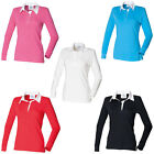 New FRONT ROW Womens Ladies Long Sleeve Plain Rugby Style Shirt 8 Colours S-4XL