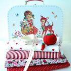 FABRIC BUNDLE IN A VINTAGE GIRL & BAMBI SUITCASE Christmas gift sewing kit CHIC