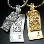 Engraved Double Rectangle Pendant Necklace 18k Gold & Silver Plated Mens Jewelry