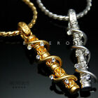 Twisted Stick Cubic Pendant Chain Necklace 18k Gold & Silver Plated Mens Jewelry