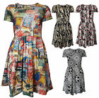 Womens Box Pleat Mini Skater Dress Printed Geometric Ladies Brand New Size 8-14