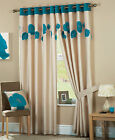 Poppy Faux Silk Curtains - Teal Blue & Cream Eyelet Ring Top Lined Curtain