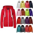 New Womens Ladies Plain Zip Hoodie Hoody Top Sweatshirt Jacket Size S M L XL XXL