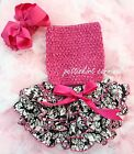 Newborn Baby Demask Ruffles Bloomers Hot Pink Tube Top Bow Headband 3pc NB-24M