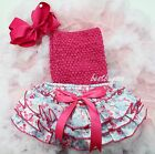 Newborn Baby Blue Butterfly Bloomers Hot Pink Tube Top Bow Headband 3pc NB-24M