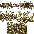 100 Antique Brass Finished Steel Metal Round Spacer Accent Beads Small - Big