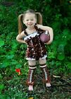 Baby Girls Brown Rugby Union Satin Romper Leg Warmers Party Outfit NB-3Y