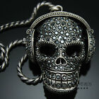 "DJ Headphones Skull Pendant Necklace Silver Black Mens Hip Hop 28"" Chain"