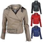 LADIES FAUX LEATHER QUILTED CROPPED BIKER JACKET WOMENS CROP PVC COAT 4 COLOURS