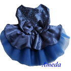 Glitter Crystal Party Dress Blue Tutu Small Pet Dog Cat Clothes Party Dress