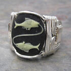 Pisces Cameo Zodiac Astrology Sign Sterling Silver Wire Wrapped Ring ANY Size