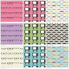 FQ - GEEKLY CHIC TV GLASSES MOUSTACHE - RILEY BLAKE 100% COTTON FABRIC 50'S MOD