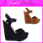 NEW LADIES HIGH HEEL WEDGE ANKLE STRAPPY BUCKLE   OPEN TOE SANDALS SIZES UK 3-8