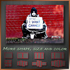 ' Banksy I Want Some Change ' Modern Graffiti Wall Art Deco Canvas Box ~ 1 Panel