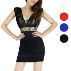 Hotsale Sequin See-through Mesh Empire Waist Sleeveless Clubbing Cocktail Dress